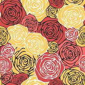 Seamless pattern with decorative roses. Floral background