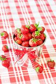Heap Of Fresh Ripe Red Strawberry In Decorative Aluminium Bucket.