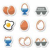 Egg, fried egg, egg box icons set
