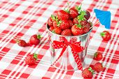 Decorative Pail Full Of Generous Crop Of Ripe Fresh Juicy Gourmet Strawberry.