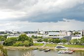 stock photo of anjou  - view of urban port on La Maine river in Angers city France - JPG