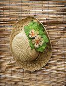 Lady Straw Hat With Decorative Flower Ribbon