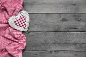 Wooden Background For A Greeting Card Or A Voucher With A Red Chequered Heart For Christmas, Mother'
