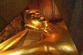 Big Golden Reclining Buddha Image
