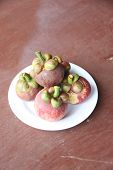 Fresh Mangosteen Fruit In Dish.