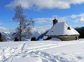 Snow Scape With Little Chapel, Austria