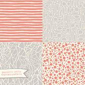 Hand drawn geometric seamless patterns set