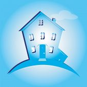 Illustration Of House On Blue Background. Can Be Used As Icon Home