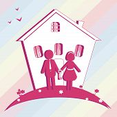 Illustration Of Buy House  For Family.  Silhouette