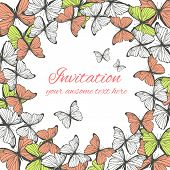 Invitation card template with butterfly ornament