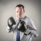 businessman with boxing gloves looking competitive