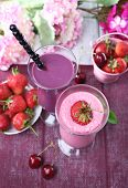 Delicious smoothie on table, close-up