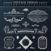 Calligraphic set elements and page decoration. Vector vintage frame ornament