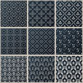 Vector seamless vintage backgrounds. Abstract set black baroque Pattern
