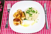Roasted Chicken Drumsticks And Rice