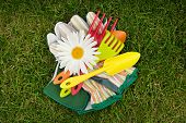 Garden tools and chamomile flower over green grass