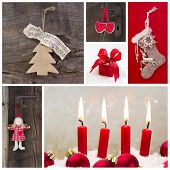 Rustic Country Decoration For Christmas In Red And Wood With Candles