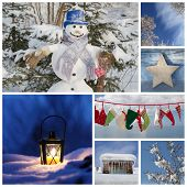 Christmas Collage In Blue - Ideas For Decoration Or A Greeting Card