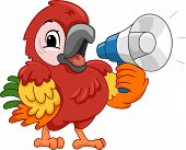 Illustration Featuring a Parrot Using a Megaphone