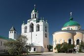 YAROSLAVL, RUSSIA - MAY 25, 2011: Belfry of the Spaso-Preobrazhensky monastery. The lower part of be