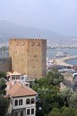 ALANYA, TURKEY - AUGUST 22, 2008: Aerial view to Kizil Kule, Red tower and the port of Alanya. Tower