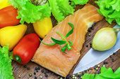 Salmon with a variety of vegetables and pepper