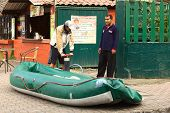 Inflating a Boat in Banos, Ecuador