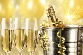 Celebration with Champagne,closeup.