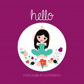 Hello miss yoga and meditation postcard cover illustration design for pilates studio of spiritual pe
