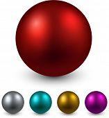 Set of realistic shiny colorful balls. Vector illustration.