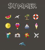 Summer Icons Set. Geometric Design Vacation And Travel Holidays