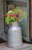 Nostalgic Milk Can With Flowers