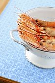 Shrimps in colander, elevated view