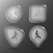 Ethnic little man with trumpet. Glass buttons. Vector illustration.
