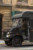 Truck delivering packages