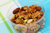 Mixed nuts in plastic box, close up