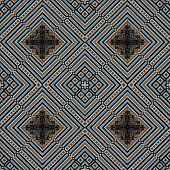 3D Blue Beige Rhomb Seamless Pattern