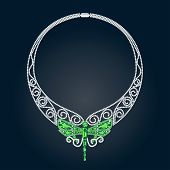 Necklace With Green And White Precious Stones And Shape Of Dragonfly