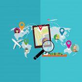 Flat transportation and geo location symbols. Vector illustration.