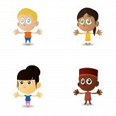 a set of happy interracial boys and girls