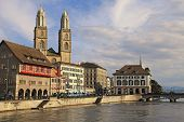 View Of Limmat River And Zurich Old Town