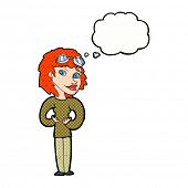 cartoon aviator woman with thought bubble