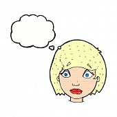 cartoon worried female face with thought bubble