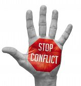Stop Conflict Concept on Open Hand.