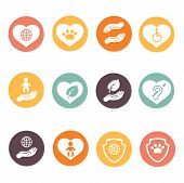 Charity donation social services and volunteer white round buttons icons