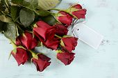Vintage Red Roses Gift For Valentines Day, Birthday Or Special Occasion On Pale Aqua Blue Recycled D