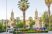 LIMA, PERU, MAY 20, 2014: Plaza Mayor with Cathedral de Lima