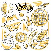 beautiful hand-draw set of baking