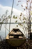 Boat, River, Old, Leaves, Sky, Blue, Chain.