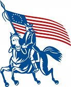 pic of betsy ross  - illustration of an American revolutionary general a riding horse with Betsy Ross Flag - JPG
